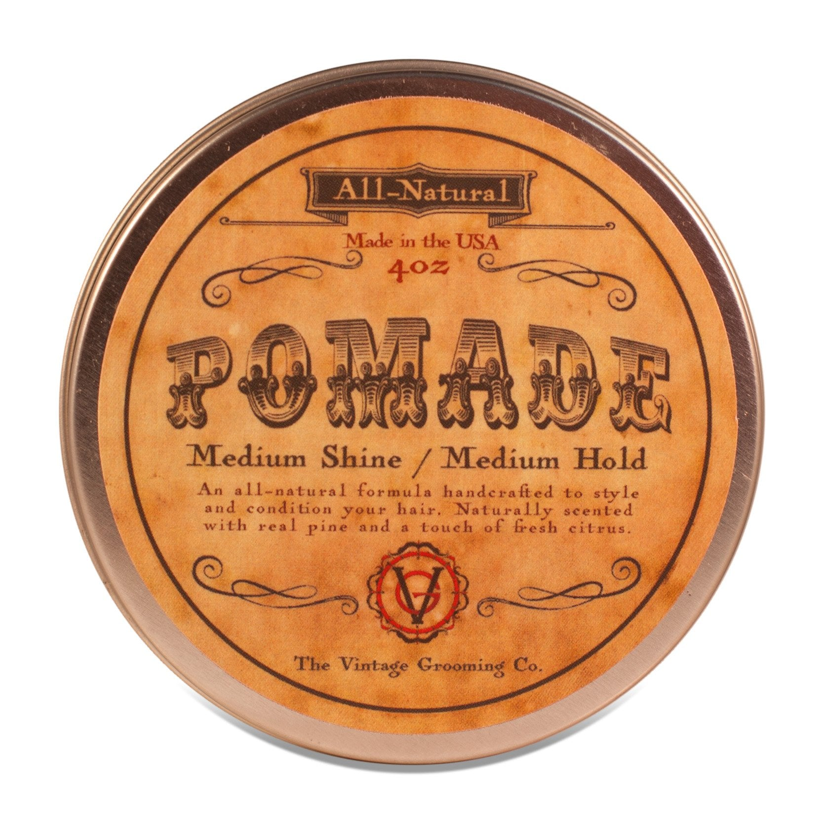 Vintage Hair Pomade - All Natural - Medium Hold (4oz)