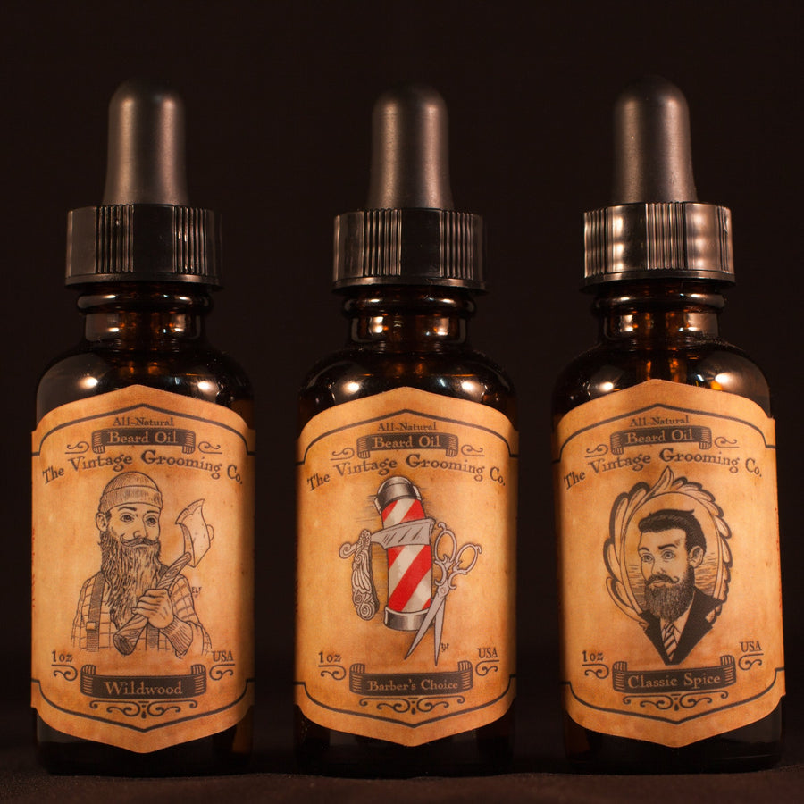 All Natural Beard Oil Trio - 3 Pack (1oz ea)