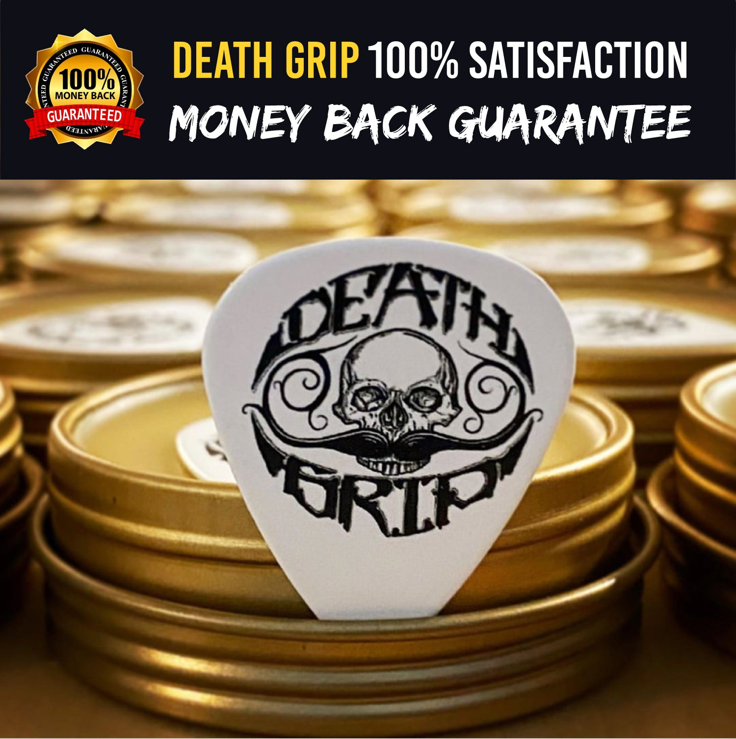 Best Mustache Wax (moustache) by Death Grip - extra strong mustash wax holds all day - perfect for men grooming white brown black or grey handlebar mustaches (1ounce) 100% all-natural no fragrance added