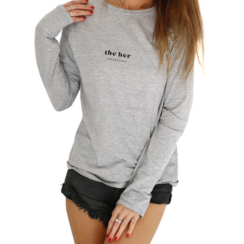 THE HER COLLECTION GREY LONG SLEEVE