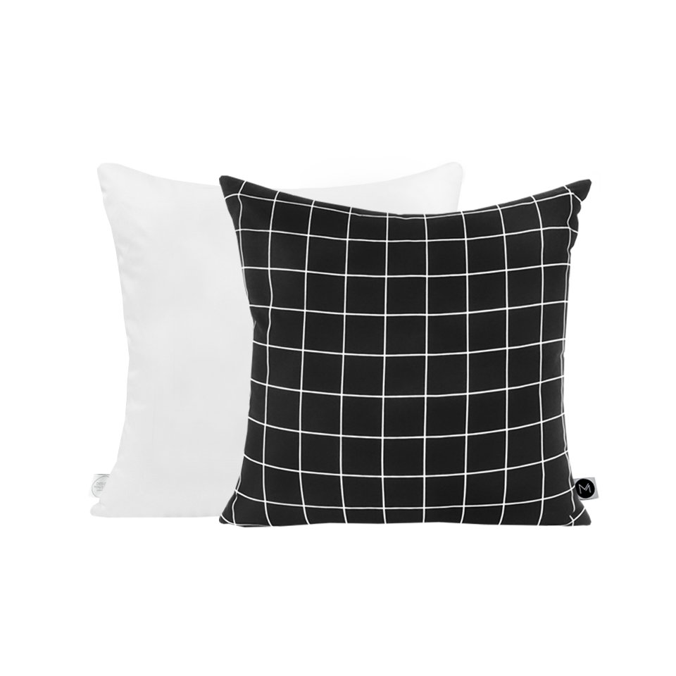 White Grid Black Cushion