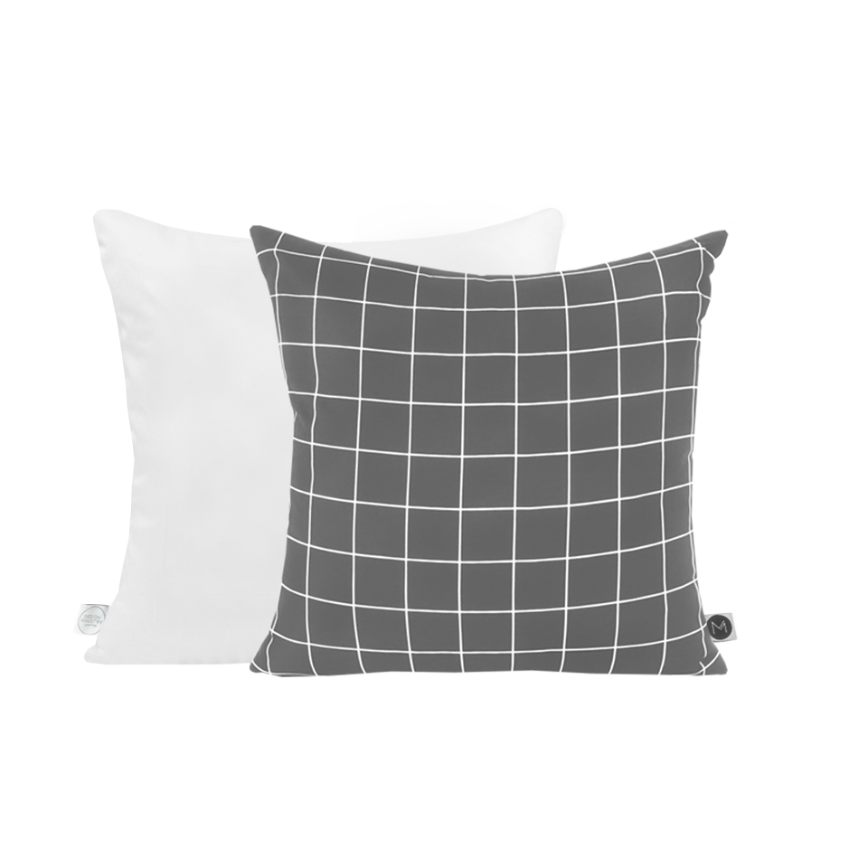 White Grid Linen Cushion