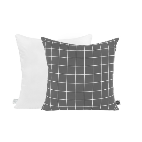WHITE GRID GREY LINEN CUSHION