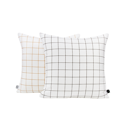 Design Ministry black, white and copper reversible cushion