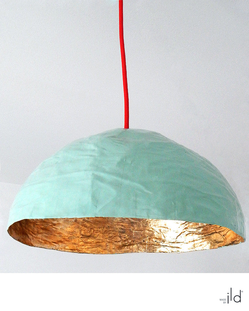 Luminaire suspendu Vert pâle & Or / Vert pâle & Cuivre • Pale green & Gold / Pale green & copper suspended light