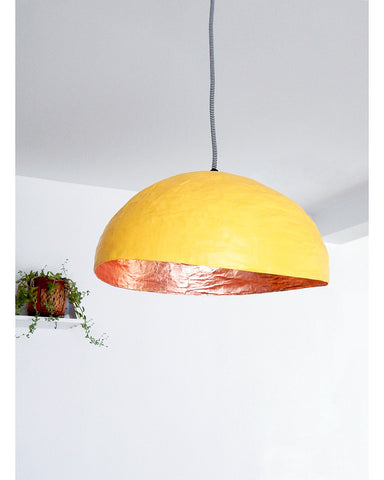 Luminaire PM, Jaune & feuilles de Cuivre • PM light, Yellow & copper leaves