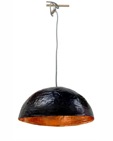 - Luminaire PM organique /Noir & feuilles de Cuivre (ou feuilles d'or)• Organic PM light /Black & Copper leaves (or gold leaves)