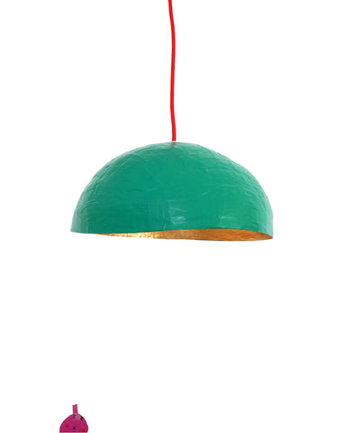 Suspension de la collection PM /Vert vif & feuilles d'Or • Hanging light from the PM collection /Green & Gold leaves