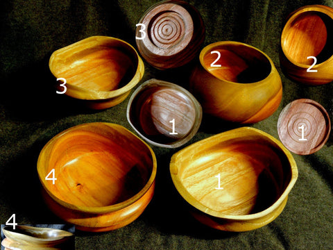 Set of Four Eucalyptus Bowls