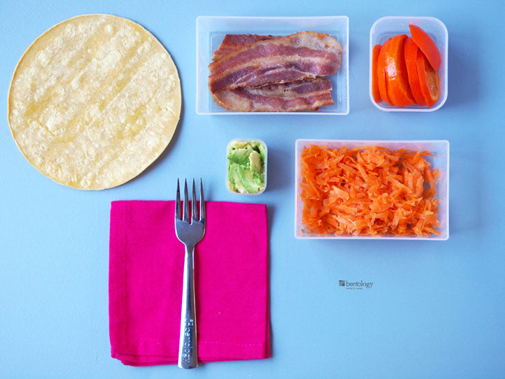 bentology, bento, laptop, lunches, lunch, box, boxes, containers, ideas, laptop lunches, healthy, nutritious, portion, perfect, diet, no diet, avocado, bacon, corn, tortilla, orange, carrots