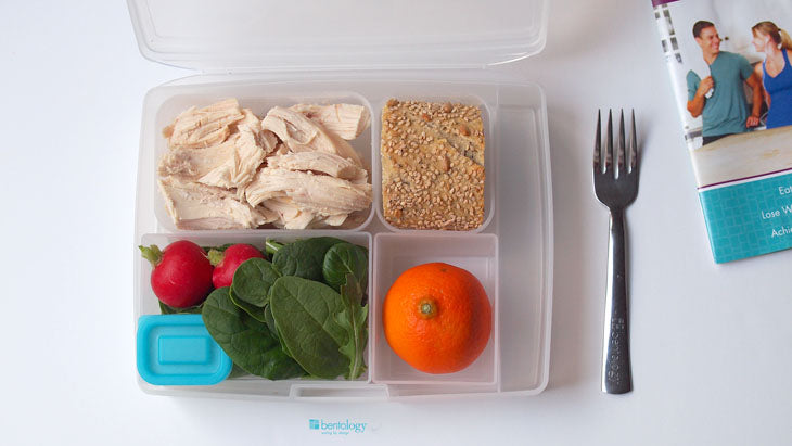 portion, perfect, bento, bentology, chicken, healthy, whole grains, salad, leaves, tangerine, book