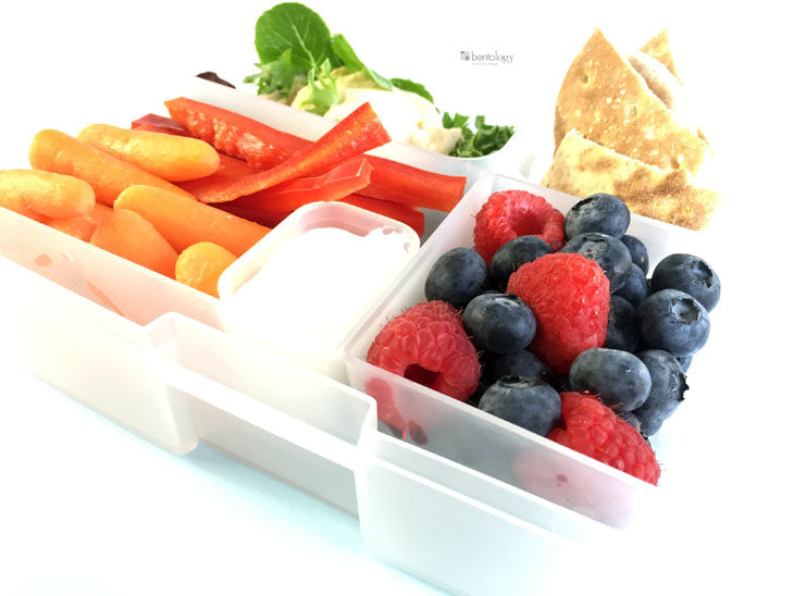 bento, portion, perfect, hummus, lunch, 500, calorie, balanced, healthy, weight, loss, berries, dip