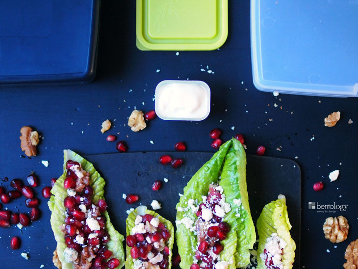 valentine, valentines, day, love, couples, romaine, pomegranate, walnuts, gorgonzola, bentology, bento, laptop, lunches, lunch, box, boxes, containers, ideas, laptop lunches, healthy, nutritious