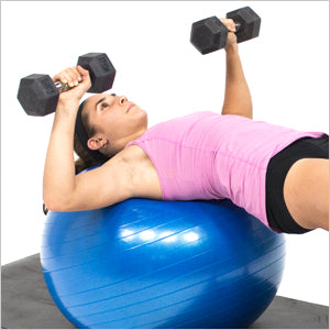 Dumbbell Press With Exercise Stability Ball
