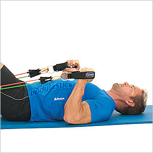 Lying Hammer Curls Arms Down With Resistance Tube Bands