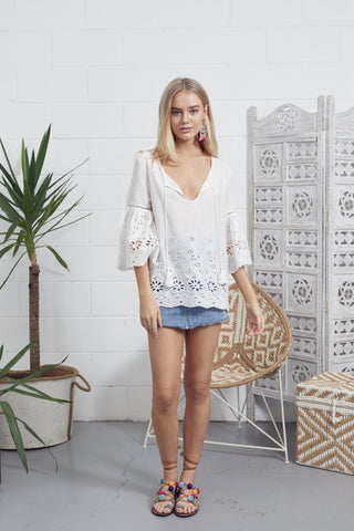 Sandy Embroidered Top WHITE