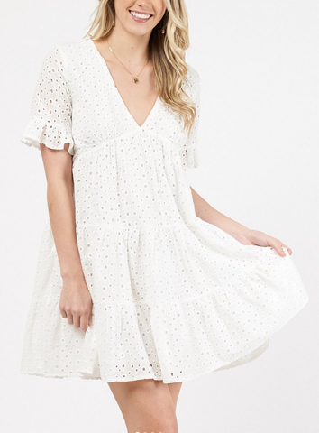 Zoe Dress      WHITE BRODERIE ANGLAISE
