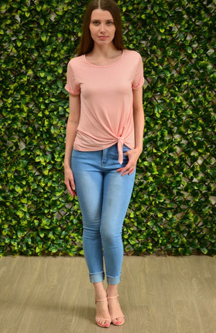 Front Tie Modal Tee       PINK