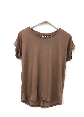 Rolled Sleeve Tee       COFFEE