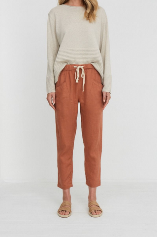 Luxe Ramie Pant              TERRACOTTA
