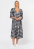 Gingham Boho Dress      BLACK