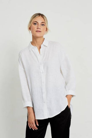 Boyfriend Linen Shirt       WHITE