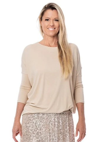 Adley Top Cotton 3/4 Sleeve       CREME