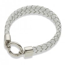 Wide Bracelet WHITE LEATHER