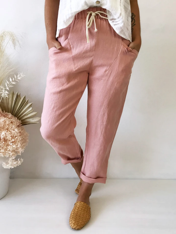 Luxe Linen Pant     SALMON PINK