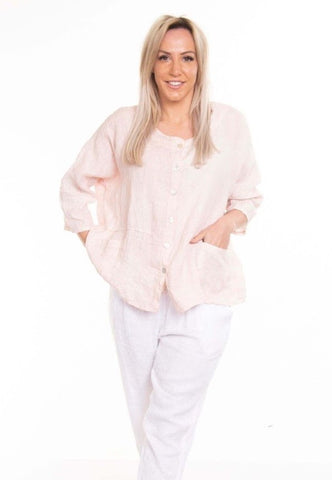Forio Linen Top      BLUSH