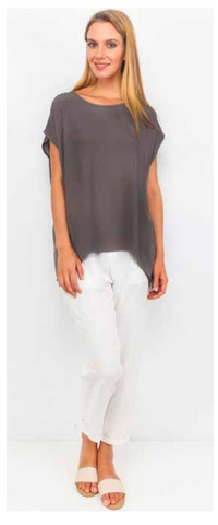 Jane Scoop Top CHARCOAL