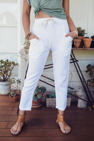 Luxe Linen Pant       WHITE