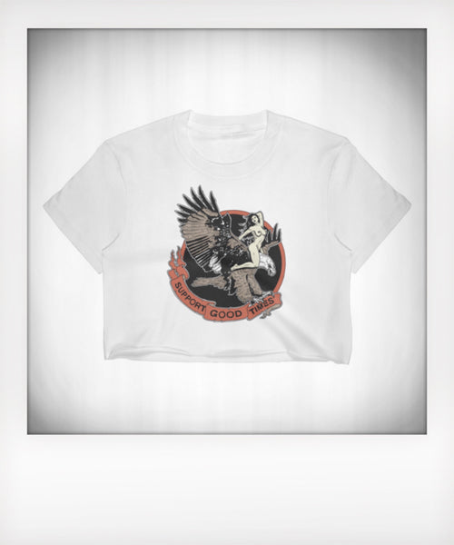 Ride Fast Live Free Eagle Cropped Tee