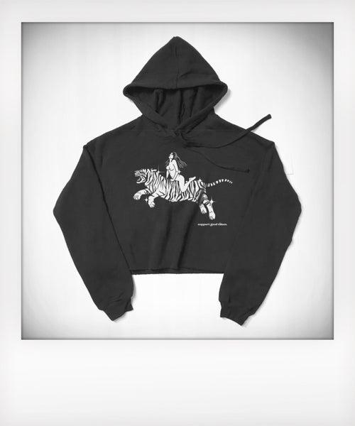 Ride That Tiger Cropped Pullover Hoodie