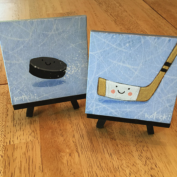 Hockey Puck & Stick Original Art