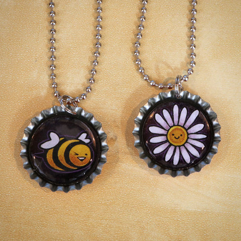 Bee & Flower Bottle Cap Pendant Necklace Set
