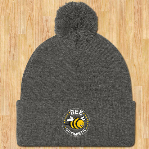 Bee Optimistic Pom Pom Stocking Cap