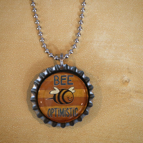 Bee Optimistic Bottle Cap Pendant Necklace