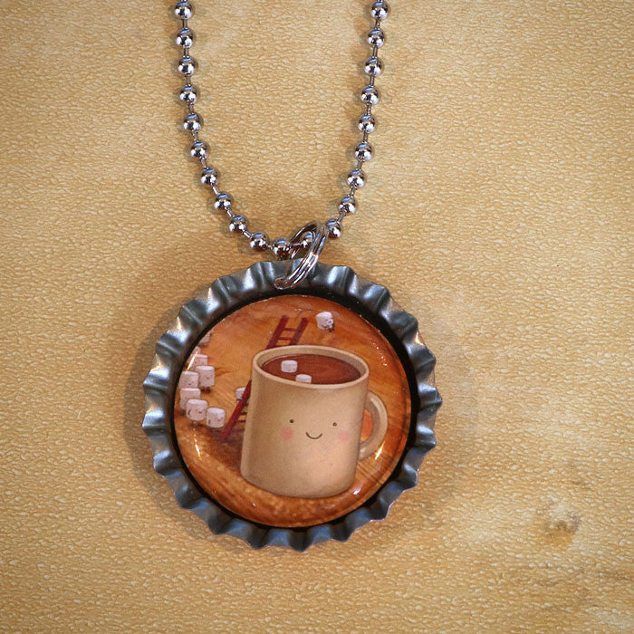 Cannonball Bottle Cap Pendant Necklace