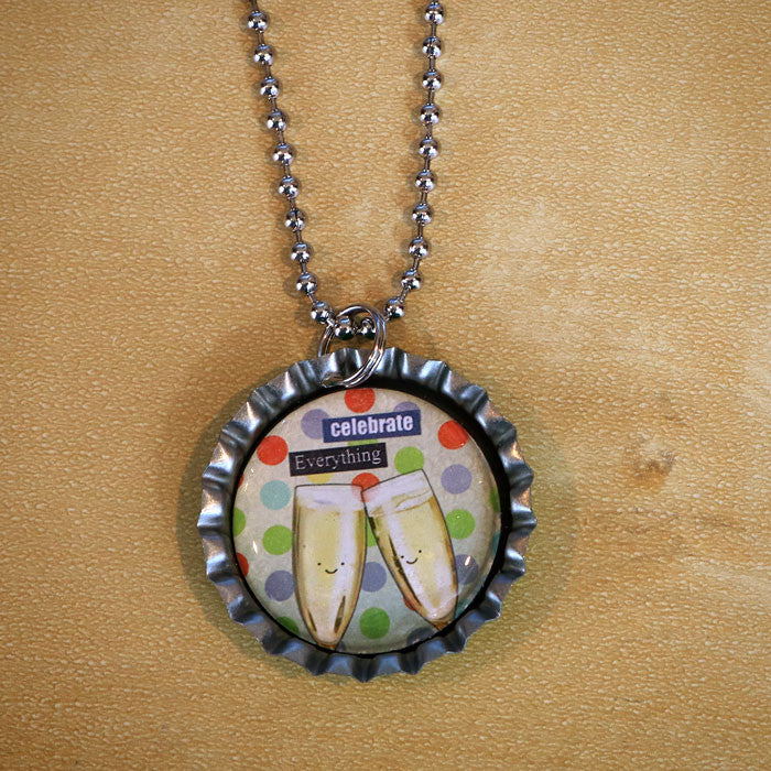 Celebrate Everything Bottle Cap Pendant Necklace