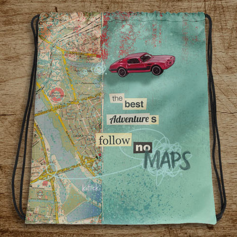 Follow No Maps Drawstring Bag