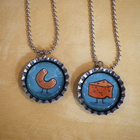 Mac & Cheese Bottle Cap Pendant Necklace Set