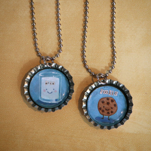 Milk & Cookie Bottle Cap Pendant Necklace Set