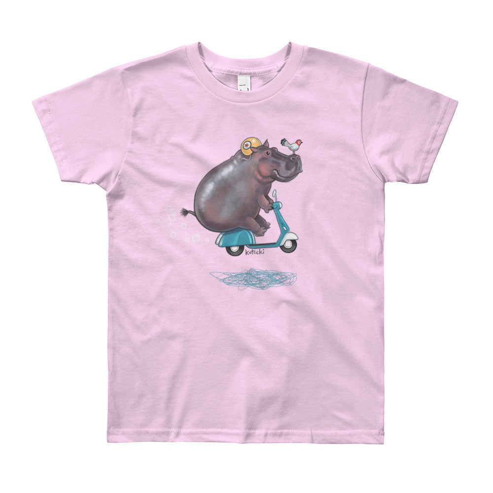 Hippo on Moped Kids T-Shirt