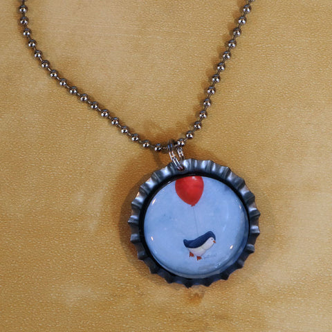 Penguin Possible Bottle Cap Pendant Necklace