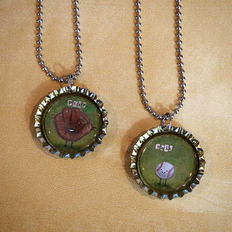 Play Ball Bottle Cap Pendant Necklace Set