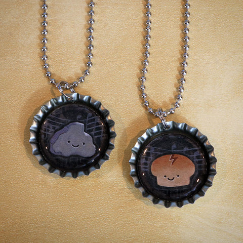 Rock & Roll Bottle Cap Pendant Necklace Set