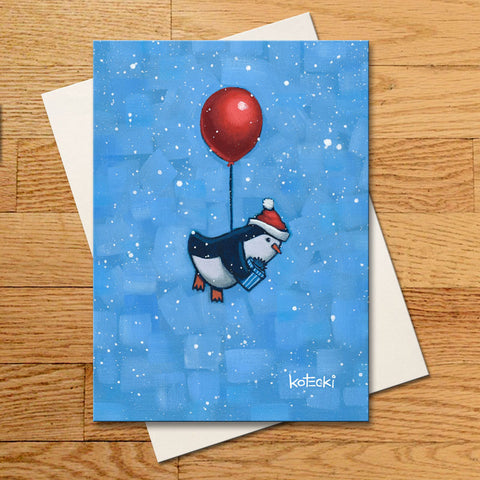 Santa Penguin Greeting Card
