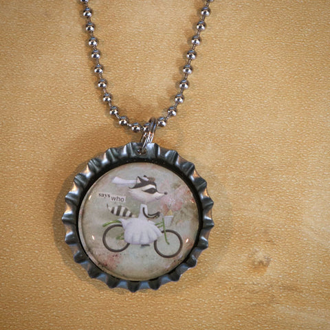 Says Who Bottle Cap Pendant Necklace