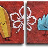 Surfboard & Wave Original Art